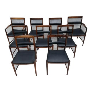 Mid Century Danish Rosewood and Leather Chairs by Helge Vestergaard Jensen Soren Horn Edition- Set of 9 For Sale