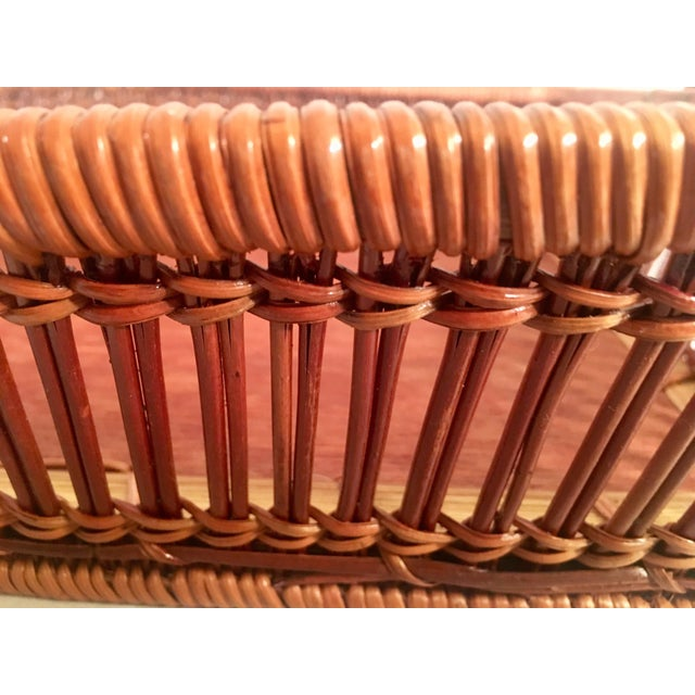 Animal Skin Mid-Century Rattan & Wood Leather-Handled Serving Tray For Sale - Image 7 of 13