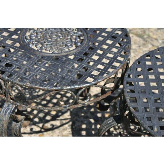 French Art Nouveau Style Wrought Iron Lattice Top Round Side Tables - a Pair For Sale - Image 9 of 12