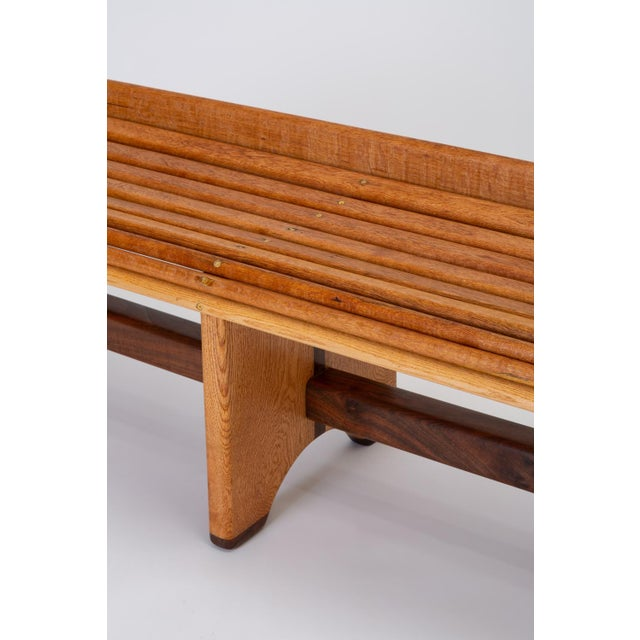 Brown Andrew Stauss Studio Craft Bench in Oak and Walnut For Sale - Image 8 of 12