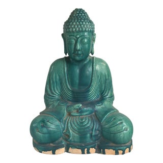 Chinese Turquoise Majolica Glaze Terracotta Seated Buddha Statue