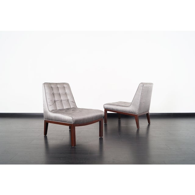 Dunbar Furniture Dunbar Slipper Chairs by Edward J. Wormley For Sale - Image 4 of 9