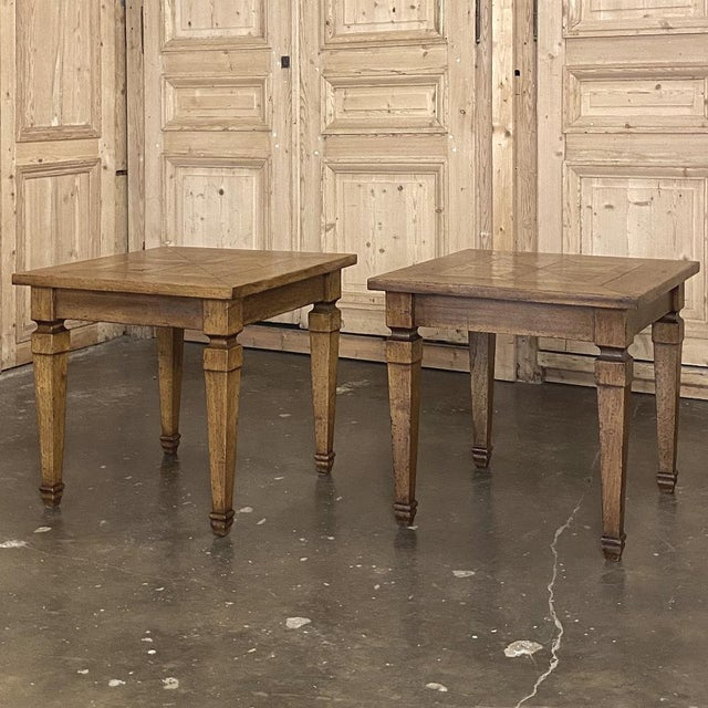 Pair Walnut Parquet End Tables For Sale - Image 4 of 4
