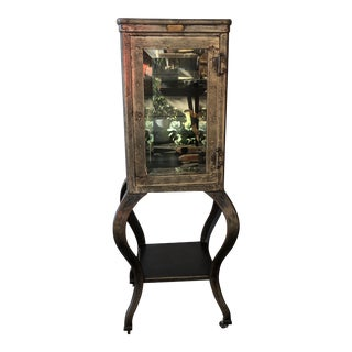 1920s Antique Metal & Glass Curio Cabinet For Sale