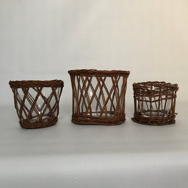 Glass Woven Vases - Set of 3 - Image 6 of 8