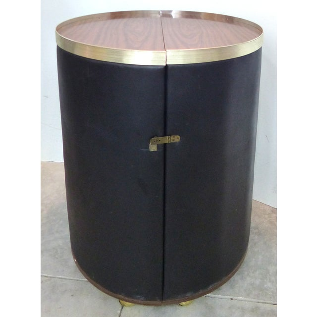 Mid-Century Modern Round Expanding Rolling Bar - Image 2 of 9