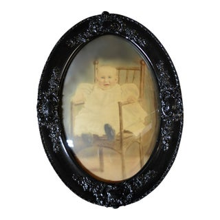 Antique Framed Baby Photograph Under Convex Glass For Sale
