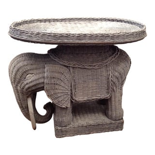 Chinoiserie Palm Beach Wicker Elephant Table