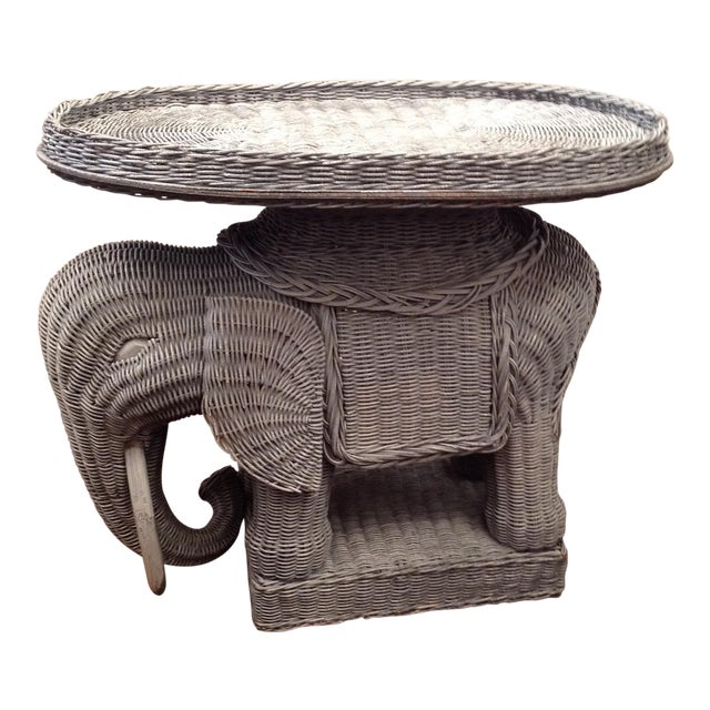 Chinoiserie Palm Beach Wicker Elephant Table For Sale