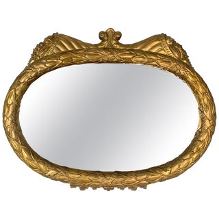 Antique American Period Hand Carved Giltwood and Gesso Mirror For Sale