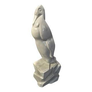 Geo. Condé Art Deco Faience Penguin in Crackle Glaze Ceramic For Sale