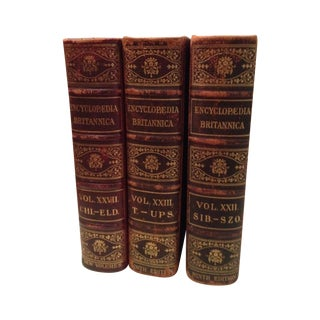 1800s Red & Gold Leather Books - Set of 3 For Sale