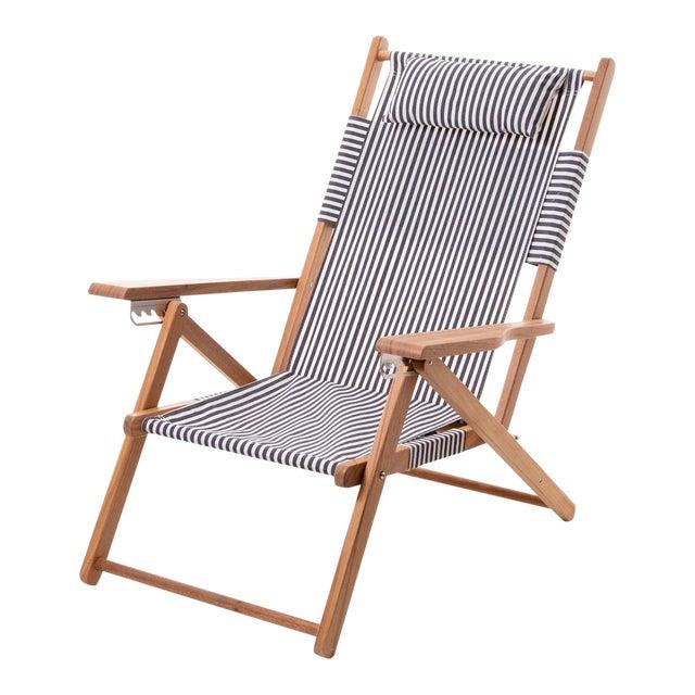 Tommy Outdoor Chair - Lauren's Navy Stripe For Sale