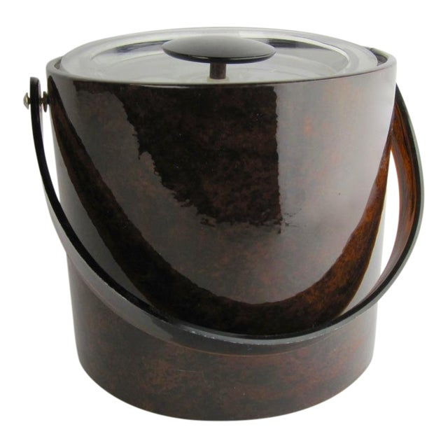 1960s Vintage Georges Briard Tortoise Finish Ice Bucket For Sale