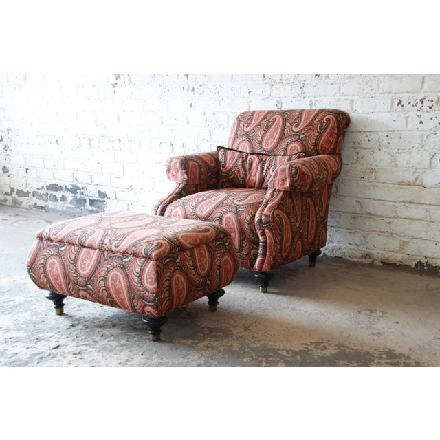 Kravet Lounge Chair and Ottoman in Paisley Upholstery For Sale - Image 12 of 12