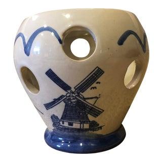 Vintage Delft-Like Bulb Forcer Vase For Sale