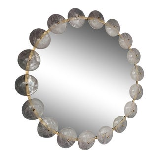 Contemporary Mirror Brass Rock Crystal. Italy For Sale