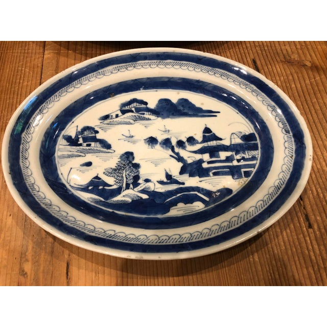 Traditional Canton Blue & White Serving Platters - a Pair For Sale - Image 3 of 5