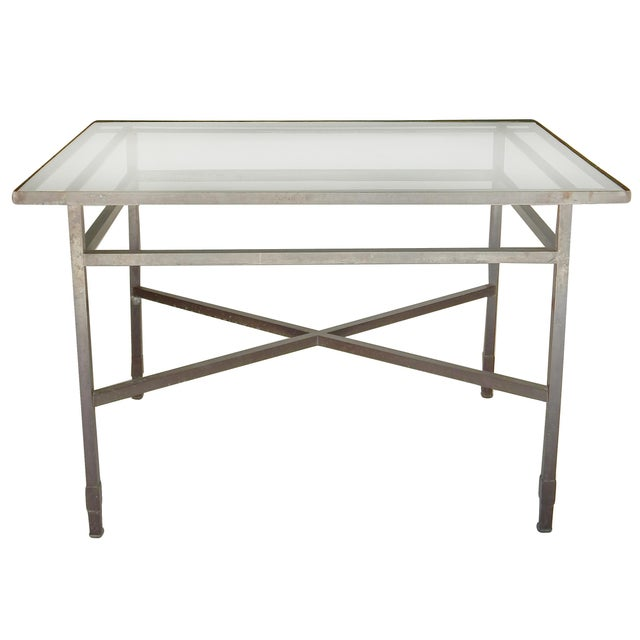 Modern Bronze Table base With Glass Top For Sale - Image 3 of 8
