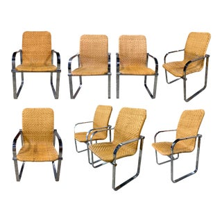 Milo Boughman Rattan and Chrome Dining Chairs - Set of 8 For Sale