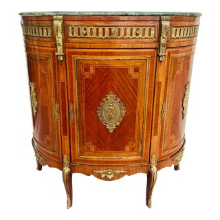 Antique Hollywood Regency Marble Top Cabinet For Sale