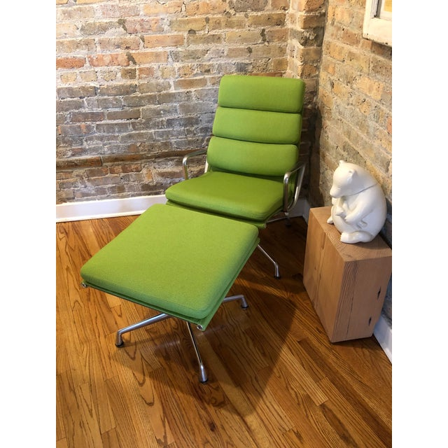 Aluminum Herman Miller Eames Neon Green Pad Lounge Chairs With Ottoman - a Pair For Sale - Image 7 of 8