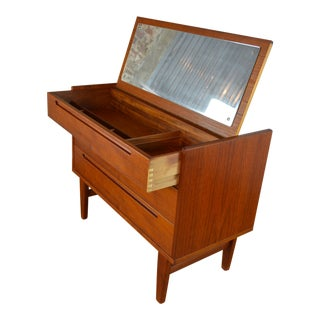 Nils Jonsson for Hjn Danish Mid Century Modern Teak Vanity For Sale