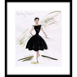 "1950s Reproduction Framed Print of Original Costume Sketch by Edith Head of Audrey Hepburn for ""Sabrina"" For Sale"