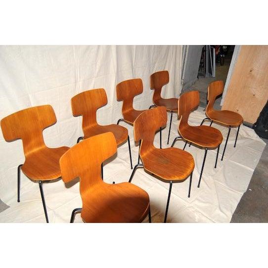 Danish Modern 1960s Vintage Arne Jacobsen for Fritz Hansen Post Modern Chairs - Set of 8 For Sale - Image 3 of 4