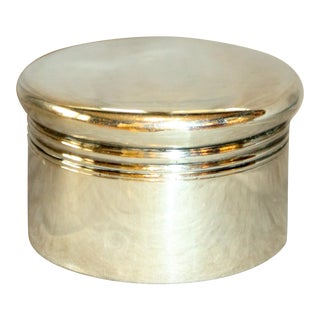 Early 20th Century Circular Sterling Silver Box For Sale