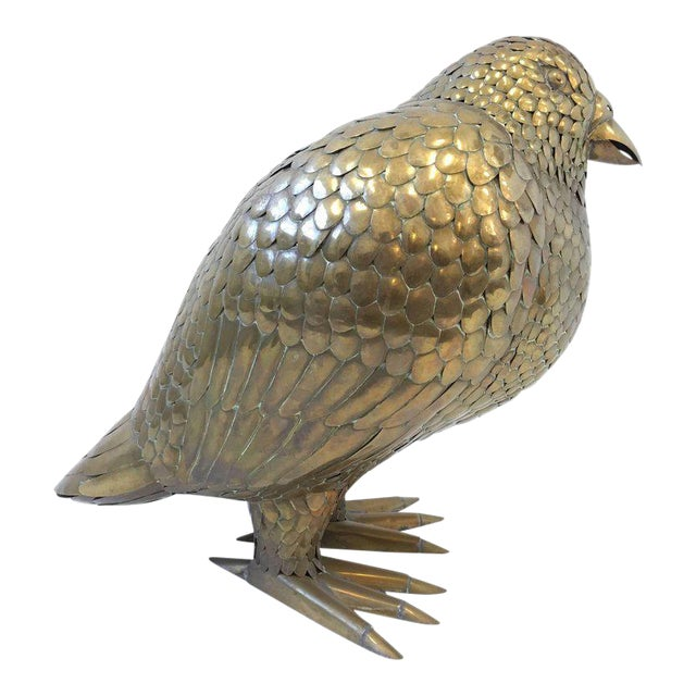 Large Brass Bird Sculpture by Sergio Bustamante For Sale