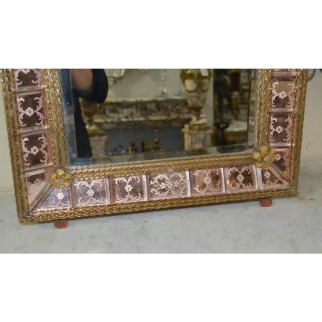 Antique Pink Venetian Etched Mirror For Sale - Image 4 of 7