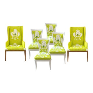 Custom Upholstered Dining Room Chairs - Set of 6 For Sale