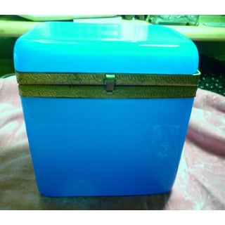 1920s Antique French Blue Opaline Lidded Casket Box Preview