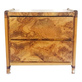 Vintage Burl Wood End Table 2 Drawer Chest Bamboo Fretwork Sides