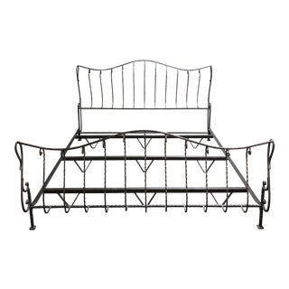 Claudio Rayes Eastern King Wrought Iron Bed For Sale