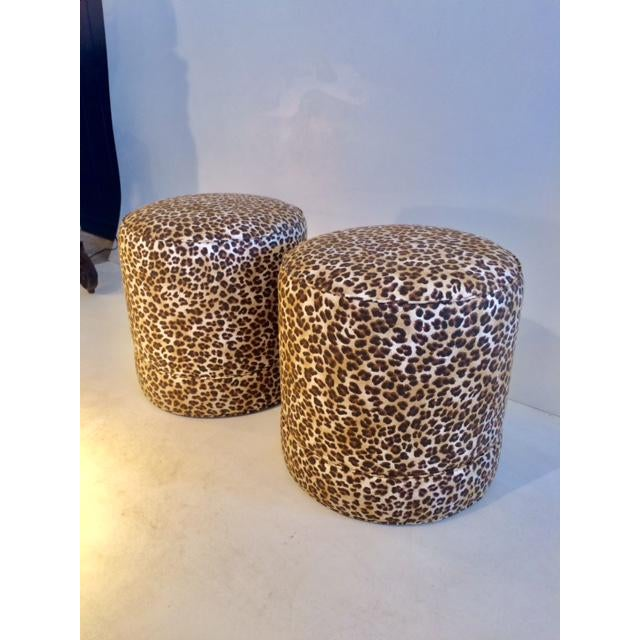 Todd Hase Todd Hase Namesake Leopard Print Ruth Drum Ottomans- A Pair For Sale - Image 4 of 13