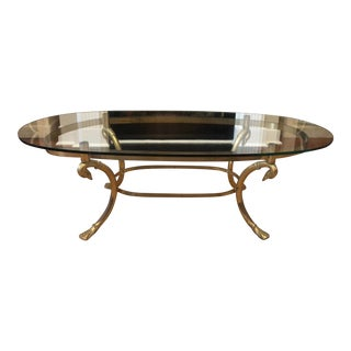 Vintage Hollywood Regency LaBarge Brass Swan Oval Cocktail Table For Sale