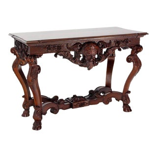 Large Heavily Carved Walnut Console Table For Sale