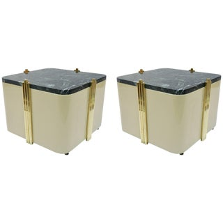 1970s Italian Cream White Lacquered & Green Marble Side Tables or Stools - a Pair For Sale