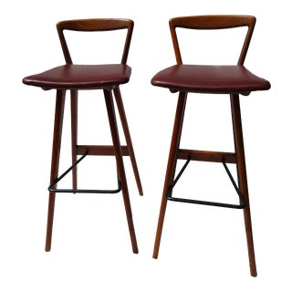 Henry Rosengren Hansen Teak Bar Stools - a Pair For Sale