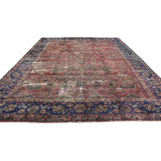 Industrial Distressed Antique Persian Kerman with Modern Industrial Style For Sale - Image 3 of 8