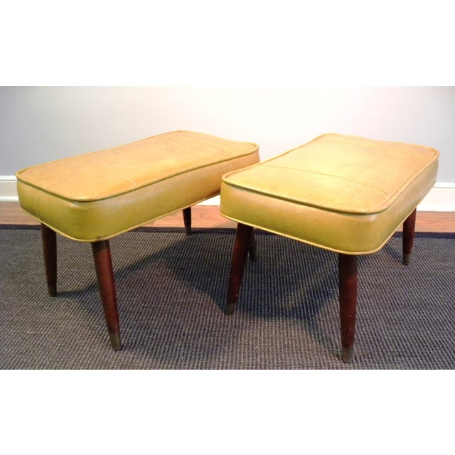 Vintage Mid-Century Gold Ottoman Footrests - Pair - Image 7 of 8
