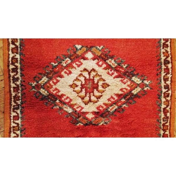 Coral and Turquoise Hallway Runner Pile Rug - Handmade Moroccan Taznacht - 2′3″ × 9′7″ - Image 7 of 7