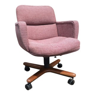 Danish-Modern Bumper Style Upholstered Swivel-Tilt Desk Chair by Chromcraft For Sale