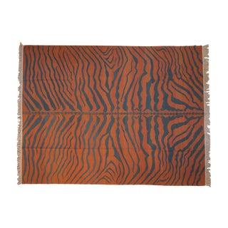 """Vintage Indian Tiger Kilim Design Carpet - 9'2"""" X 12' For Sale"""