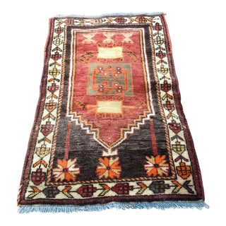 Vintage Ancient Turkish Anatolian Wool Rug - 2′3″ × 3′9″ For Sale