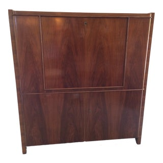 1930s Art Deco Drop-Front Mahogany Secretary Desk For Sale
