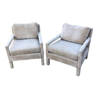 1960s Contemporary Bernhardt Stamped Almond Armchairs - a Pair