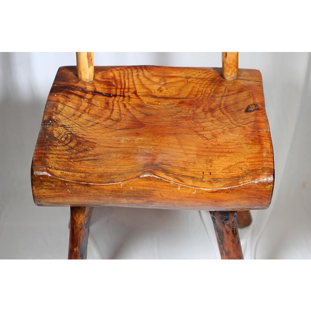 1940s Primitive Handmade Hickory Side Chair - Image 6 of 6